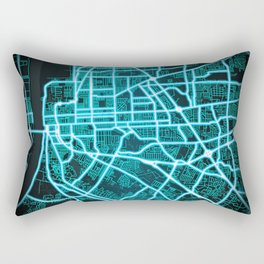 Baton Rouge, LA, USA, Blue, White, Neon, Glow, City, Map Rectangular Pillow