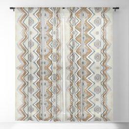 Modern Zig Zag in Gray Rust and Cream Sheer Curtain