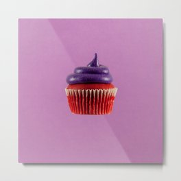 Cupcake Love | Royal Purple Velvet Metal Print