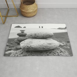 Rock Stacking Black and White Rug