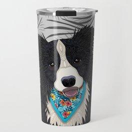 Happy Border Collie Boy Travel Mug