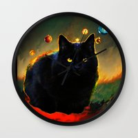 black cat Wall Clocks featuring black cat by ururuty
