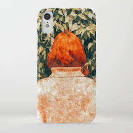 Surprise Visit, Quirky Whimsical Painting, Fashion Travel Red Head Ginger Woman Illustration iPhone Case