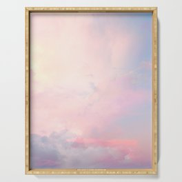 Pastel Clouds Pink and Blue Print Serving Tray