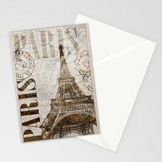 Vintage Paris eiffel tower illustration Stationery Cards