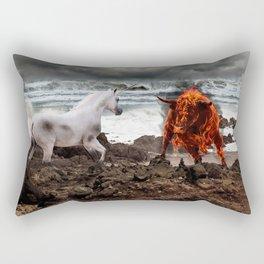 The Unicorn vs the Fire Bull Rectangular Pillow