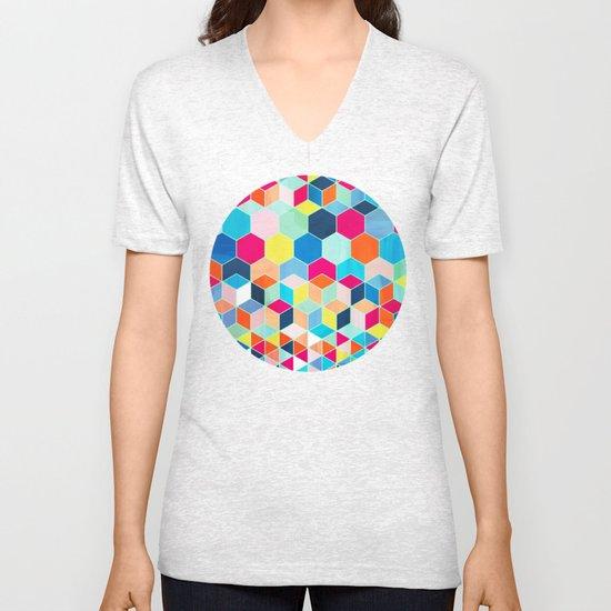 Super Bright Color Fun Hexagon Pattern Unisex V-Neck