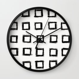 Square Stroke Dots Black and White Wall Clock