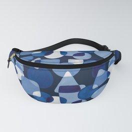 Blue Watercolour Geometric on Dark Blue Background Fanny Pack