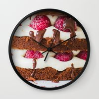 cake Wall Clocks featuring Cake by Jovana Rikalo