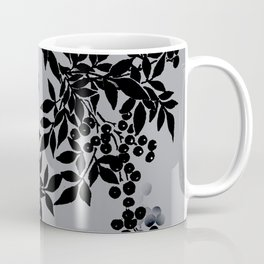 TREE BRANCHES BLACK AND GRAY LEAVES AND BERRIES Coffee Mug