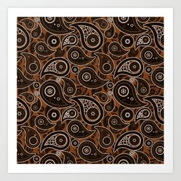 Chocolate Brown Paisley Pattern Art Print