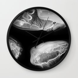 Jellyfish Photography | Wildlife Art | Black and White Photography Wall Clock