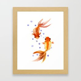 Goldfish, two fish, Koi Asian Style watercolor art, feng shui Framed Art Print