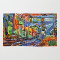 broadway Area & Throw Rugs featuring Broadway in the Rain by Synesthesia Artist Dillon James