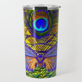 FANTASY PURPLE MONARCH BUTTERFLY PEACOCK FEATHER Travel Mug