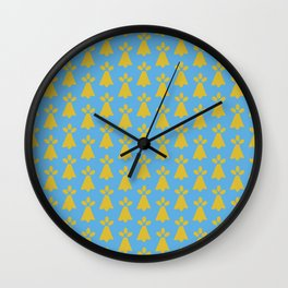 French Country Blue and Gold Ermine Spots Patterned Print Wall Clock
