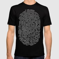 Fingerprint Black Mens Fitted Tee MEDIUM