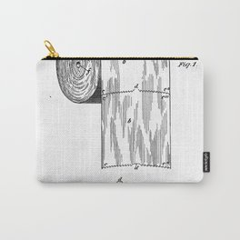 Toilet Paper Patent - Bathroom Art - Black And White Carry-All Pouch