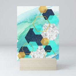 Gold,Navy,Teal abstract hexagon art Mini Art Print