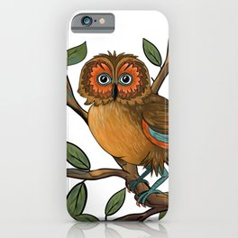 Owl on branch iPhone Case