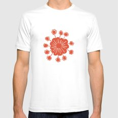 Red Flower Mens Fitted Tee White MEDIUM
