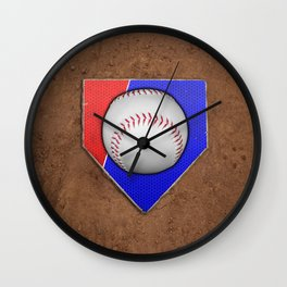 Baseball Base in Red and Blue with Sand Wall Clock