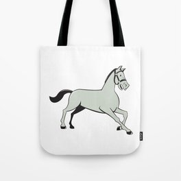 Horse Trotting Side Cartoon Isolated Tote Bag