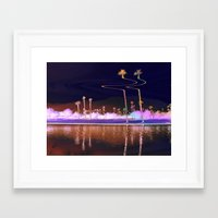 coachella Framed Art Prints featuring coachella distortion by Monica Ortel ❖