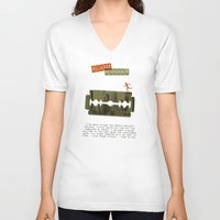 blade runner V-neck T-shirts featuring Blade Runner by Marta Colomer