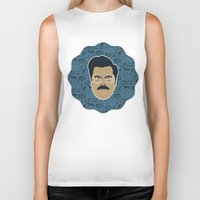 parks and recreation Biker Tanks featuring Ron Swanson - Parks and recreation by Kuki