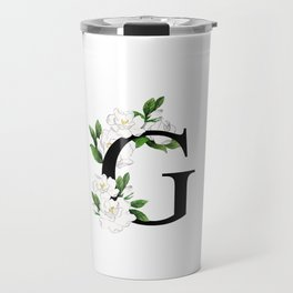 Letter 'G' Gardenia Flower Monogram Travel Mug