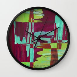 Raspberry Jam - Textured, abstract, raspberry, cyan and green painting Wall Clock