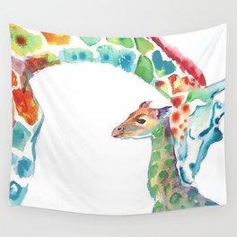 Mummy and Baby Giraffe College Dorm Decor Wall Tapestry