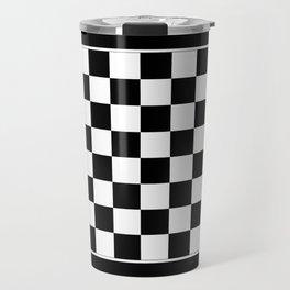 Vintage Chessboard & Checkers - Black & White Travel Mug