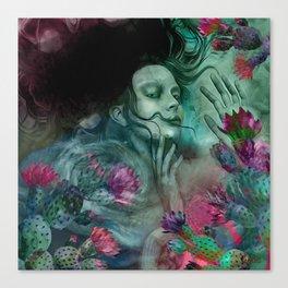 """Sirena between pastel cactus flowers"" Canvas Print"