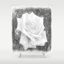 Pink Roses in Anzures 4 Charcoal Shower Curtain