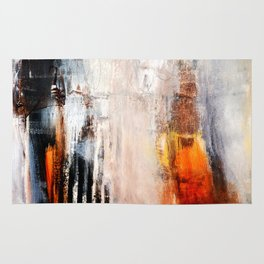 Rust White Black Abstract Painting Print  Rug