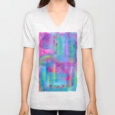 Pink with Blue Dots Unisex V-Neck