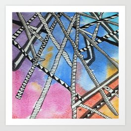 Aquarell and Pen Abstract 2 Art Print