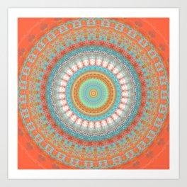 Turquoise Coral Mandala Design Art Print