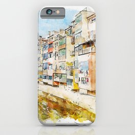 Aquarelle sketch art. Colorful houses and reflected in water river Onyar, in Girona, Catalonia, Spain iPhone Case