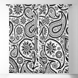 Back and white paisley pattern Blackout Curtain