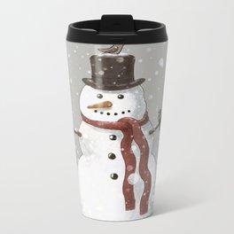 Christmas Snowman  Metal Travel Mug