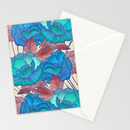 Peonies and Stripes Pattern - Blue, Purple,Yellow Stationery Cards