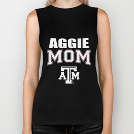 aggie mom atm texas slogan logo mom Biker Tank