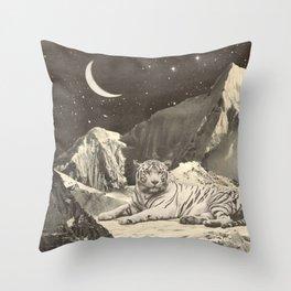 Giant White Tiger in Mountains Throw Pillow