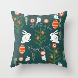 Winter holidays with bunnies Throw Pillow