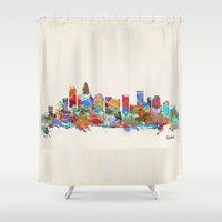 north carolina Shower Curtains featuring Charlotte North Carolina skyline by bri.buckley