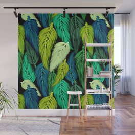 Watercolor Macrame Feather Toss in Black + Green Wall Mural
